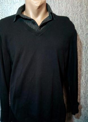 Мужской свитер с имитацией рубашки. f&f.