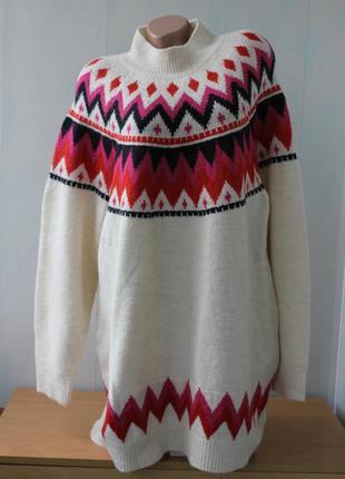 Мягкий , теплый свитер -туника с высоким горлом f&f