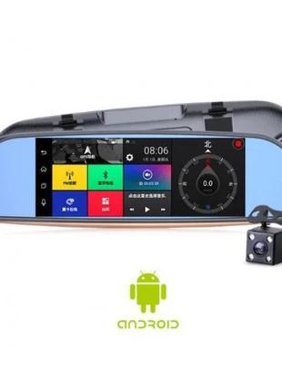 Зеркало регистратор, 7 сенсор, 2 камеры, Sim карта, GPS навигатор