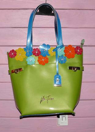 Лаковая кожаная сумка Velina Fabbiano