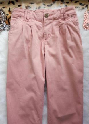Розовые брюки штаны чиносы пудра плотные denim co прямые свобо...