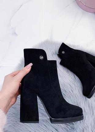 Новые шикарные женские весенние черные ботинки ботильоны