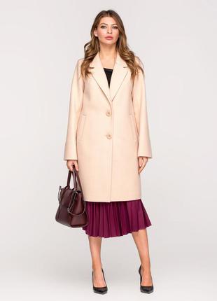 Скидка! женское весенее классическое бежевое пальто демисезон