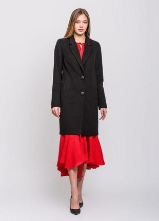 Женское весенее классическое черное пальто демисезон
