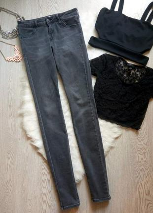 Серые джинсы скинни стрейч джеггинсы на высокий рост узкачи ам...