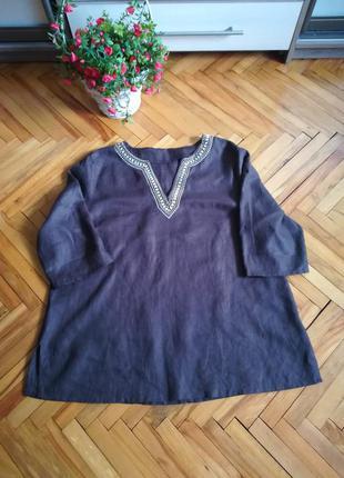 Льняная рубашка туника блуза большого размера