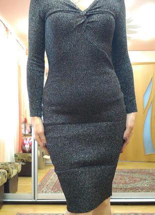 Платье вязаное с люрексовой нитью