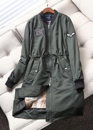 Зимняя длинная куртка/бомбер( long bomber) topfeeling