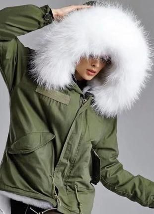 Парка mr & mrs furs с белым мехом