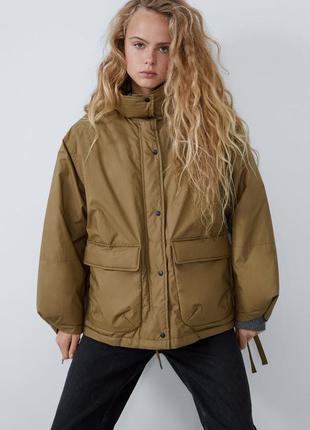 Водоотталкивающее зимняя куртка zara  (оверсайз)