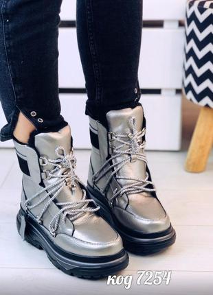 Зимние серебристые ботинки из натуральной кожи