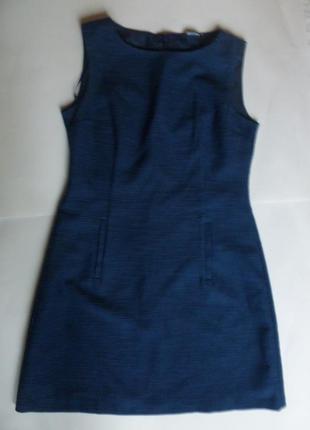 Элегантное платье футляр поперечный рубчик глубокий синий трен...
