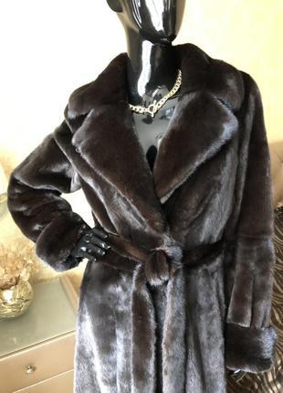 Норковая шуба amato, black nafa, 135 см, номерная, халат