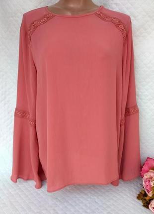 Красивая нежная блуза цвета пудры с кружевом размер 18 (46-48)