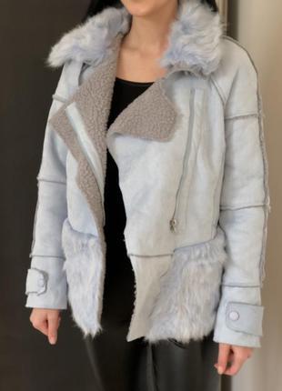 Женская синяя куртка с мехом - дубленка