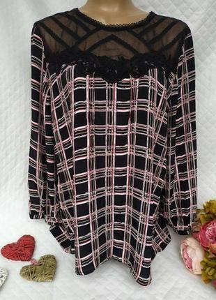 Шикарная стильная вискозная блуза с кружевом размер 16 (44-46)