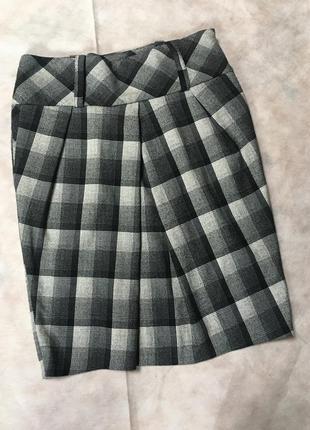 Стильная юбка в клетку с карманами широкий пояс igmar