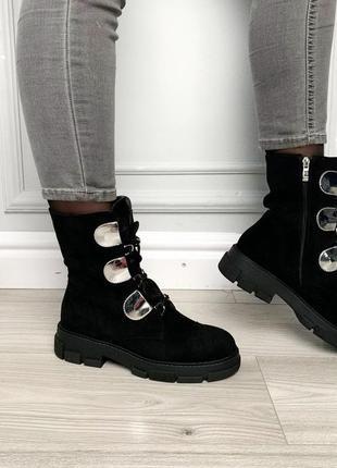Ботинки женские черные сбоку молния замшевые на шнуровке высокие