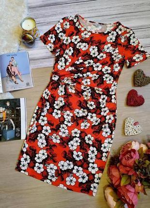 Красивое вискозное платье в цветы миди размер 10-12 (м-l)