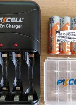 4 X Аккумулятора PKCELL 1.6V Ni-Zn 2500 mWh AA / AAA Зарядка. ...