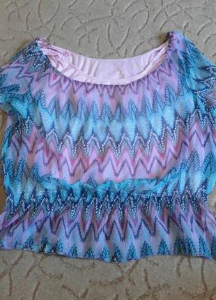 Полупрозрачная блуза с майкой большой размер 62-64