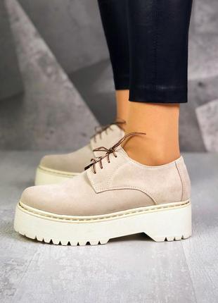 36-40. трендовые замшевые туфли на шнурках броги на массивной ...