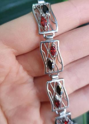 Браслет серебро 925, с красно черными фианитами. по низкой цен...