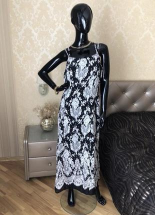 Платье, сарафан с белым кружевом, макси в пол, размер 48