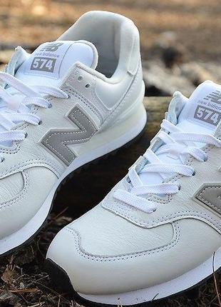 Оригинал new balance ! кроссовки кожаные белые мужские 574, ml...