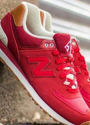 Оригинал new balance! крутые красные мужские кроссовки 574 мод...