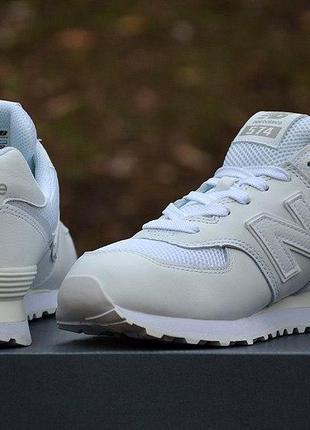 Оригинал new balance! кроссовки натуральная кожа белые 574 ml5...