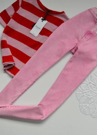 Джинси рожеві дуже виска посадка базові  bershka