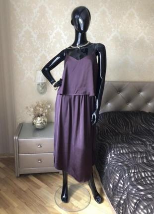 Платье винного цвета, марсал, миди, размер 48
