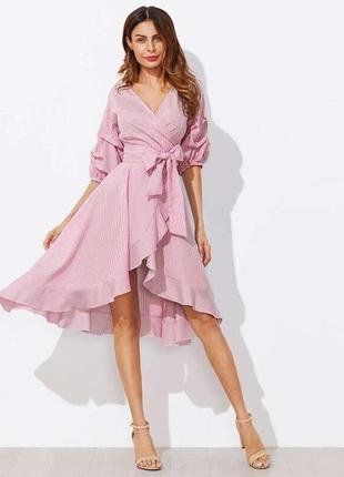 Платье на запах с воланами рюшами в полоску полосатое