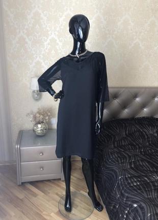 Платье маленькое чёрное с сеткой, размер 46.