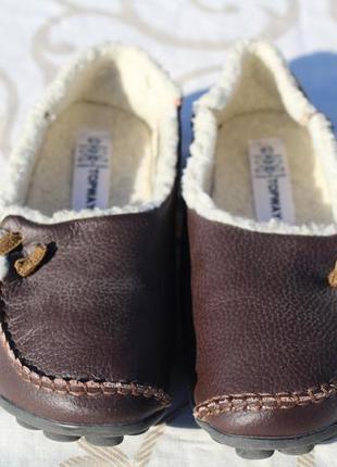 Домашние тапочки, туфли из натуральной кожи на овчине topway 3...