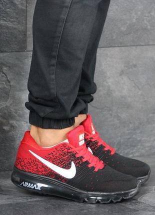 Nike air max red black, мужские кроссовки найк