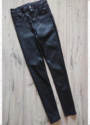Скинни джинсы под кожу стрейчевые h&m 28р новые сток высокая п...
