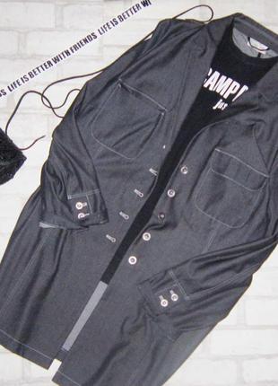 Крутая denim удлиненная куртка,оверсайз , тренч, платье рубашк...
