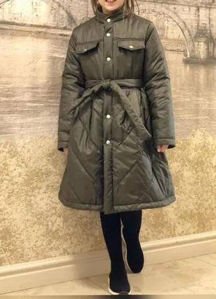 Пальто болоньевое на синтепоне для девочки на рост 128-152