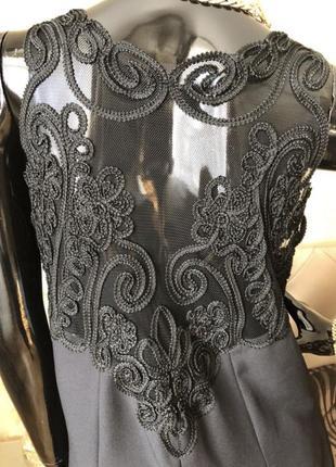 Платье с кружевной спиной, чёрное макси, в пол 48-50 размер, н...