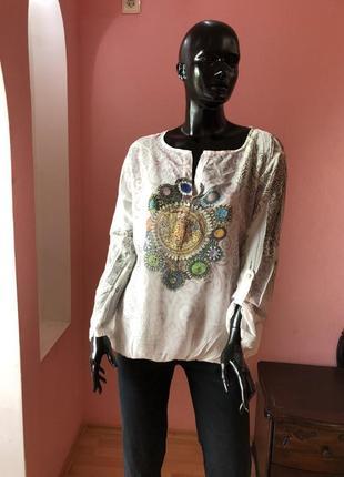 Блуза с камнями сваровски италия, вискоза, размер 48-50