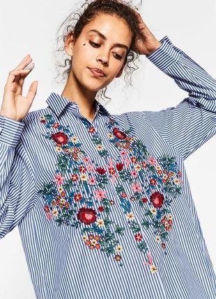 🌿 стильная удлинённая рубашка zara с вышивкой