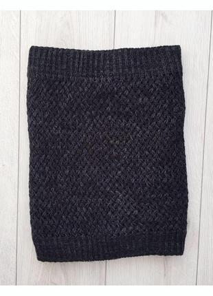 Шарф, хомут, очень теплый, сірий, темно серый шарф.