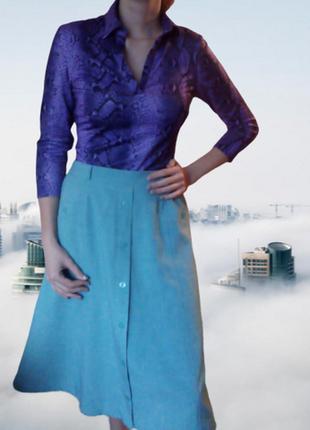 Винтаж модная весенняя стильная бирюзавая голубая юбка имитаци...