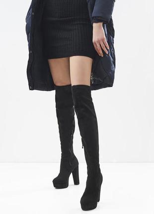 Новые шикарные женские черные демисезонные сапоги ботфорты на ...