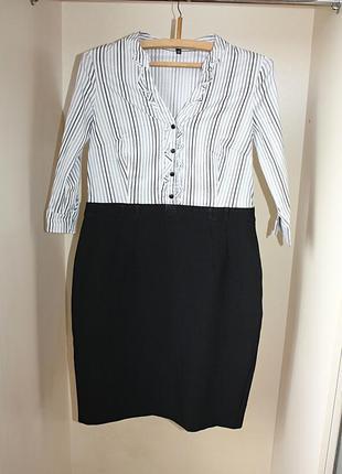 Черно-белое деловое офисное платье верх рубашка юбка карандаш ...