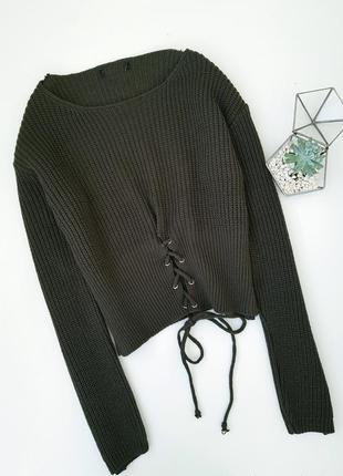 Хаки свитер со шнуровкой на талии
