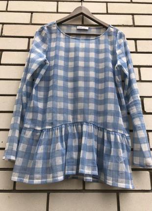 Блузка в клеточку с баской per una