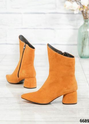 ❤ женские оранжевые весенние демисезонные замшевые ботинки бот...